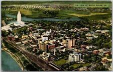 Baton Rouge, Louisiana Postcard Aerial City View w/ State Capitol Bldg - Linen