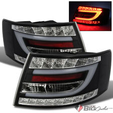 For 05-08 A6 (C6) Black Fiber Optic Light-Tube LED Tail Lights Rear Brake Lamps