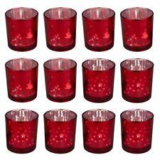 Teelichtglas GALE - 12 Stück - 6,5 cm - Rot - Stern - Tanne - Teelichthalter