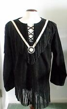 3B West Men's Black Fringed Leather Jacket With White Trim Pullover Large Lined