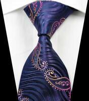 Hot! Classic Paisley Purple Rose Gold JACQUARD WOVEN 100% Silk Men's Tie Necktie