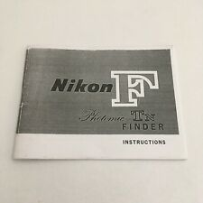VINTAGE INSTRUCTIONS MANUAL-COPY- FOR NIKON F WITH PHOTOMIC TN FINDER