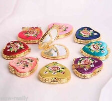 New 10PCS Mix Color Heart Shape HANDMADE Embroidery silk Cosmetic Mirror Gift