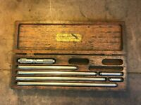 """VINTAGE Lufkin #681C Inside Micrometer Set 4""""-24"""" INCOMPLETE (MISSING 3"""" ROD)"""