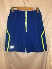 Under Armour Athletic Shorts Heat Gear Mens Blue Green Stripe Medium