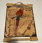 Vintage 1999  Hand Painted Map On Leather Featuring South America - Wall Art