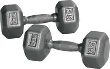 York Barbell 34009 Pro Hex Dumbbell with Cast Ergo Handle Grey - 25 lbs