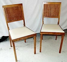 Mid Century Folding Wood Chairs Leg- O - Matic Vintage Solid Wood 2 Ea Cane Back