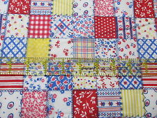 Cotton Flannel fabric mini cheater blocks square calico BTHY half yard cut