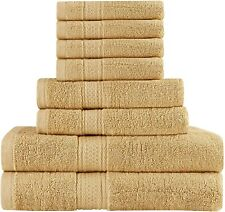 Premium 8 Piece Towel Set (Beige); 2 Bath Towels, 2 Hand Towels and 4 Washcloths