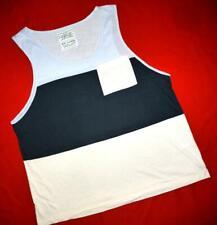 """All Saints """"Hoxton Vest"""" T-Shirt Top Vest Blue / Beige Size XL"""