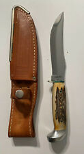 Vintage Case XX Stag Handle Fixed Blade Hunting Knife With Sheath Never Used