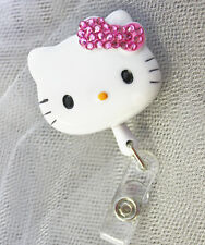 "Bling Hello Kitty 45mm / 1.9"" Retractable Reel ID Badge Holder_pink Bow 1pc"