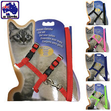 Pet Cat Kitten Adjustable Safety Harness Lead Collar Leash Rope 5 Colour PDOC593