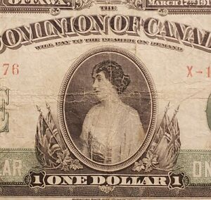 1917 Dominion of Canada $1 Banknote. No Seal Variety & Saunders Signed.