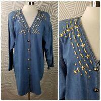Vintage Plus Size 2X 18/20 Denim Jacket Coat Shirt Top Western Rancher Star