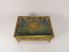 Lovely Vintage Jewelry Trinket Box Gilt Brass & Glass Reticulated & Footed Felt