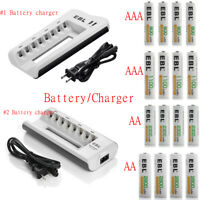 Lot  8 Bay Battery Charger w/ USB port / AA AAA Ni-MH Rechargeable Batteries USA