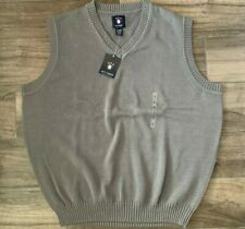 Ivy Crew Mens V-Neck Gray Sweater Vest 100% Cotton Size XL X-Large NEW WITH TAGS