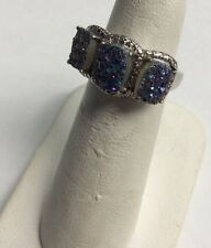 Sterling Silver Teal Blue Green & Purple Druzy Ring Size 5