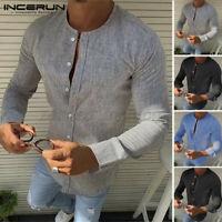INCERUN 100% coton Hommes chemise à manches longues chemisier sans col chemise