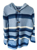 CHAPS Denim Ralph Lauren Blue Striped Hooded Toggle Sweater Jacket Size XL