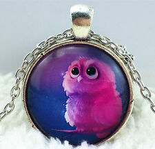 Vintage owl Cabochon Tibetan silver Glass Chain Pendant Necklace women Jewelry