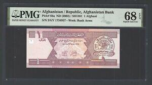 Afghanistan One Afghani ND(2002)/SH1381 P64a Uncirculated Grade 68 Top Pop