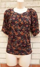 FLORENCE & FRED BLACK RED ORANGE FLORAL GYPSY SUMMER BLOUSE T SHIRT TOP 10 S