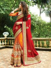 Indian Bollywood Ethnic Bollywood Designer Red Orange Saree Party Sari Tradition