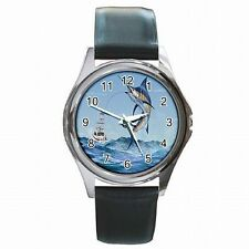Marlin Fish Deep Sea Fishing Leather Watch New!