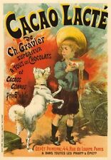 AP140 VINTAGE FRANCESE cacao LACTE Cioccolato Pubblicità Poster Cartoncino A5 Stampa