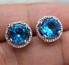 18K White Gold Filled- 7mm Round Blue Topaz Zircon Hollow Cocktail Lady Earrings