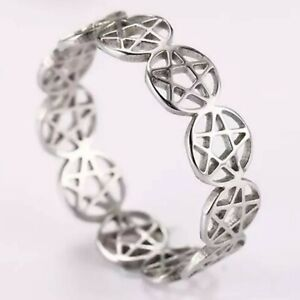 Pentacle Ring Silver Stainless Steel Wicca Pagan Protection Star Band Sizes 6-10