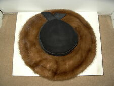 Vintage 50's - 60's Brown Mink Hat With Black Felt Top & Satin Ribbon - Italy
