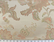 Drapery Upholstery Fabric Jacquard Floral - Peach, Spring Green, Gold on Beige