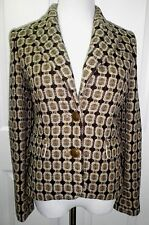 NWT JUICY COUTURE Womens Wool Tweed Woven Silk Lined Blazer Jacket Brown Gold 6