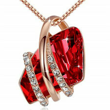 Ladies Fashion 18k Rose Gold Plated Red Crystal White Zircon Necklace Jewelry