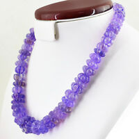 644.00 CTS NATURAL UNTREATED RICH PURPLE AMETHYST ROUND CARVED BEADS NECKLACE