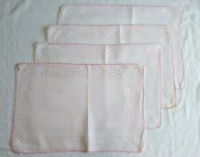 Vintage Pink Polka Dot Linen Cloth Placemats Set