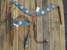HEADSTALL BREASTCOLLAR SET TURQUOISE BLUE SHOW HORSE LEATHER WESTERN BRIDLE TACK