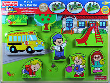 Fisher-Price Schule 2in1 Spiel & Puzzle, Holzpuzzle, 9 Teile, Holz, ab 18 Mon...