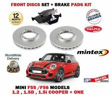 FOR BMW MINI 1.2 1.5 D + COOPER 2013-> FRONT BRAKE DISCS SET + DISC PADS KIT