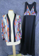 Vintage 70s Abstract PRINT MAXI DRESS AND MATCHING JACKET  Size 12