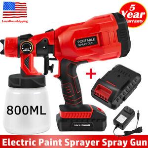 Cordless Paint Sprayer Electric HVLP Spray Gun Hand Held Fence Sprayer w/Battery