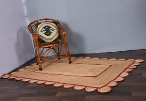 scalloped red border rug farmhouse rug homedecor jute rugs indoor-outdoor rugs