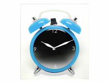 Square Glass Twinbell Pop Art Funky Wall Clock 34cm Blue Pink Grey