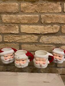 Pottery Barn Christmas Mr Claus Santa Claus Mugs Cups Set 4 Christmas holiday