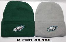 READ LISTING! Philadelphia Eagles HEAT APPLIED Flat Logos/ 2 Beanie Knit Cap hat