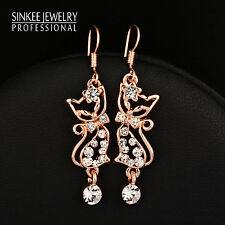 Lovely Cute Crystal Cat Dangle Earrings Women 18K Yellow Gold Brand Jewelry 2017